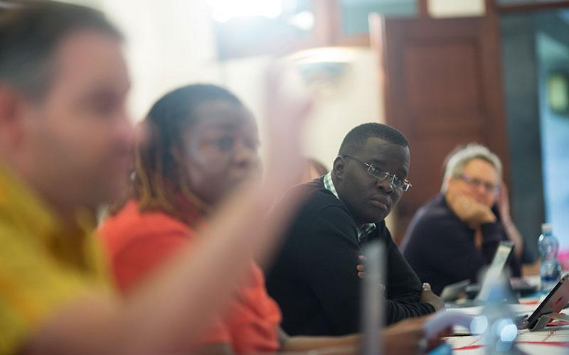 Nicholas Opiyo looks on during one of the workshop sessions