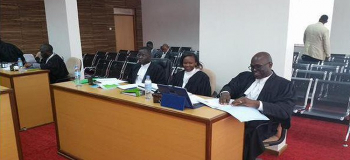 Counsel Nicholas Opiyo and colleagues at the East African Court of Justice – Arusha in a case challenging Uganda's defamation law - See more at: http://chapterfouruganda.com/articles/2016/01/06/uganda-our-top-2015-human-rights-stories-told-tweets#sthash.K8YdsQms.dpuf