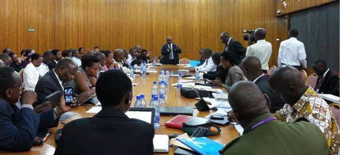 Committee hearing in progress during the NGO Bill public hearing at Parliament on June 25th, 2015