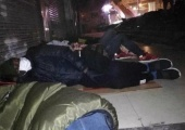Africans sleeping on the street in Guangzhou, after being unable to find shelter. CNN photo.